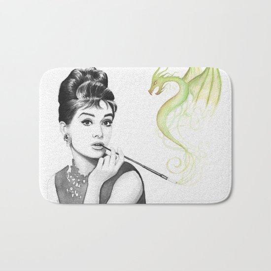 Audrey Hepburn Smoking and Dragon Bath Mat