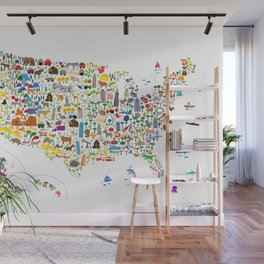 Animal Map of United States for children and kids Wall Mural