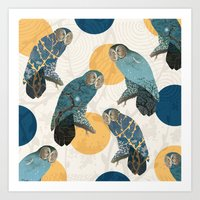 mandie manzano Art Prints featuring Night Owl Polka by Paula Belle Flores