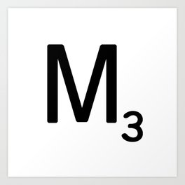 Letter M - Custom Scrabble Letter Tile Art - Scrabble M Initial Art Print