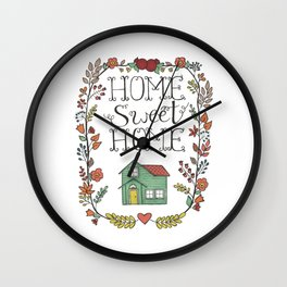 Home Sweet Home | Floral Pomegranate Leaves Heart Wall Clock
