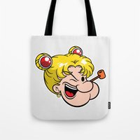 popeye Tote Bags featuring Popeye the Sailor Moon by unluckyxiii