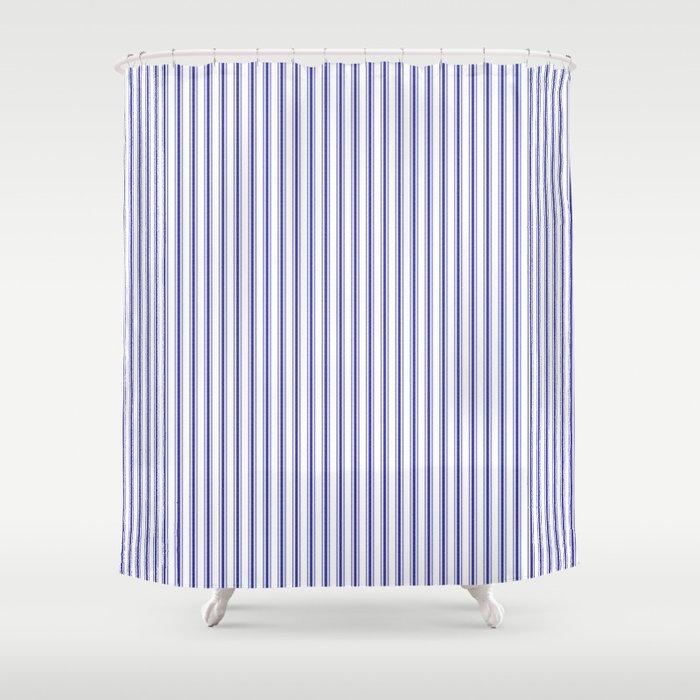 Navy Blue on White Mattress Ticking Stripes Shower Curtain by ...