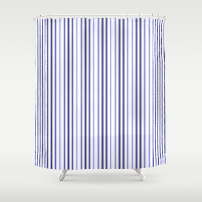 Navy Blue On White Mattress Ticking Stripes Shower Curtain