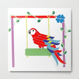 Scarlet macaw in the playground Metal Print