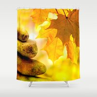 religious Shower Curtains featuring Fall meditation  by UtArt