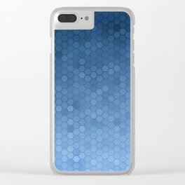 Blue Hexagons Clear iPhone Case