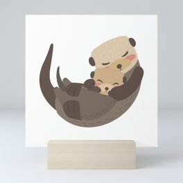 Otter Mother and Child Mini Art Print