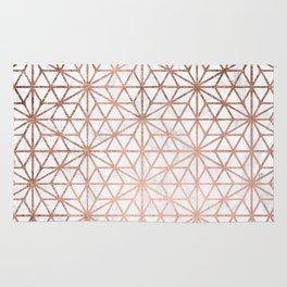 Modern rose gold stars geometric pattern Christmas white marble Rug