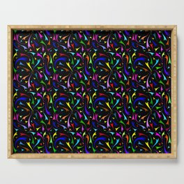 Background of colorful comets. Abstract Neon comet on a black background. Serving Tray