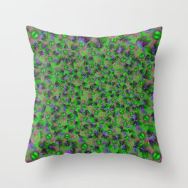 Abstract sewn flowers Throw Pillow