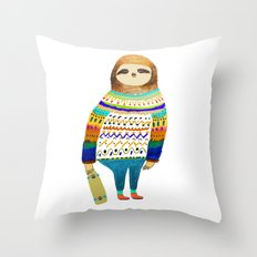 Hipster sloth skateboarder Throw Pillow