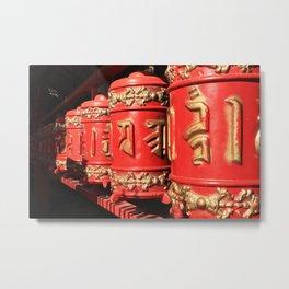 Red prayer drums row Metal Print