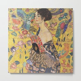 Gustav Klimt - Woman with Fan Metal Print