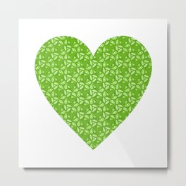 Nature Lover - green leafy pattern in heart, abstract digital art Metal Print