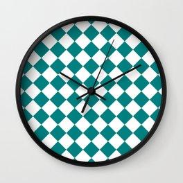 Diamonds - White and Dark Cyan Wall Clock