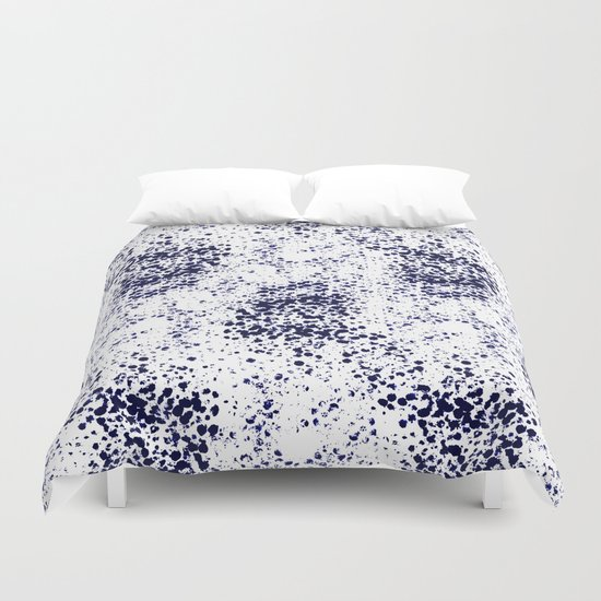 Indigo Splash abstract minimal white and blue nautical water painterly painting monochromatic art Duvet Cover