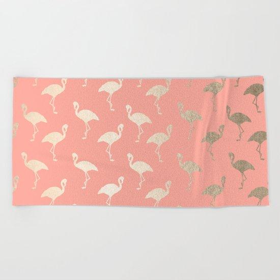 Gold Flamingo Pattern Coral Pink Beach Towel