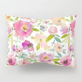 Elegant pink lavender green watercolor botanical floral Pillow Sham