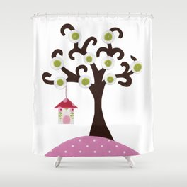 Bird house tree Shower Curtain