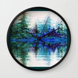 BLUE MOUNTAIN TREES & LAKE REFLECTION Wall Clock