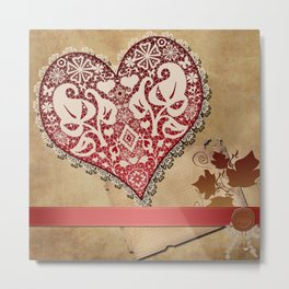 Openwork lace heart . Vintage Irish lace . Metal Print