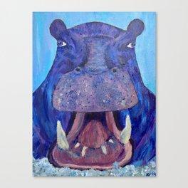 Big Purple Hippopotamus Canvas Print