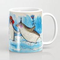 penguins Mugs featuring penguins by oxana zaika