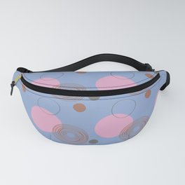 Blue and Pink Sketchy Circle and Dots Pattern Fanny Pack