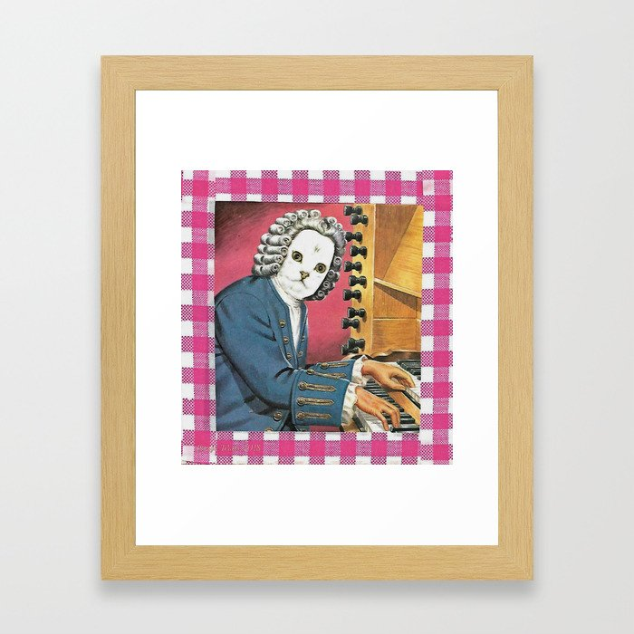 I Don't Bach I Meow Handcut collage Framed Art Print