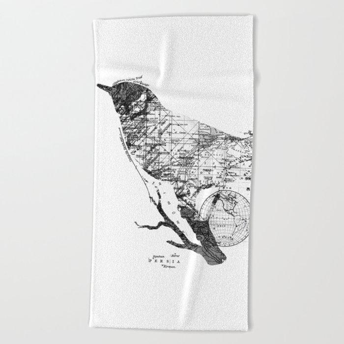 Bird Wanderlust Black and White Beach Towel
