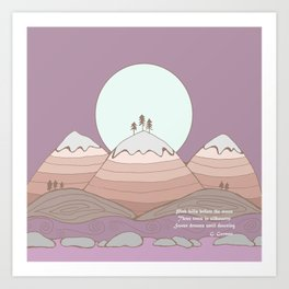 Moon over the Mountain with Poetry  Art Print
