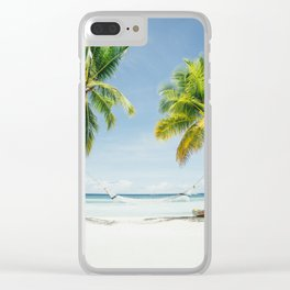 Palm trees, hammock Clear iPhone Case