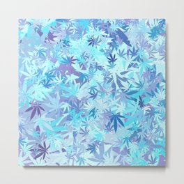 Marijuana Cannabis Weed Pot Shades of Blue Metal Print