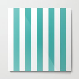 Verdigris blue - solid color - white vertical lines pattern Metal Print