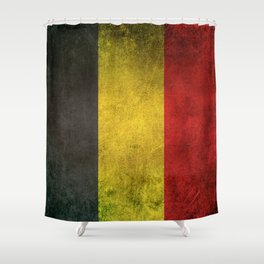 Old and Worn Distressed Vintage Flag of Belgium Shower Curtain