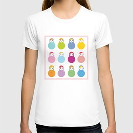 dolls matryoshka on white background, pastel colors T-shirt