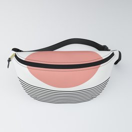 Geometric Circle and Lines in Coral and Black Fanny Pack