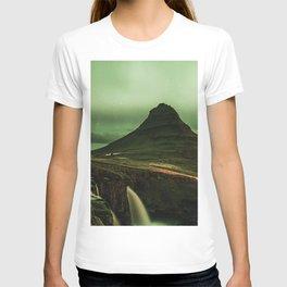 kirkjufell, mountain, waterfall, starry sky, iceland T-shirt