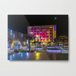 Pictures Poland Christmas Town square Katowice Str Metal Print