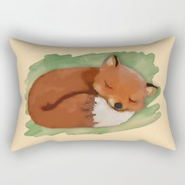 Sleepy Watercolor Fox Rectangular Pillow