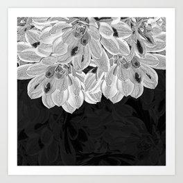Elegant Black and White Flowers Design Art Print