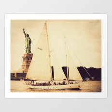 A Day on the Hudson with Lady Liberty Art Print