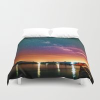milky way Duvet Covers featuring Milky Way over Water by 2sweet4words Designs