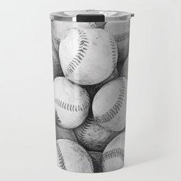 Bucket of Baseballs in Black and White Travel Mug