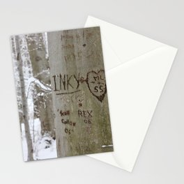 Winter Tress Love Carvings, Knox Farm State Park, Winter 2013 Stationery Cards