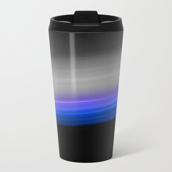 Blue Purple Grey Black Ombre Metal Travel Mug