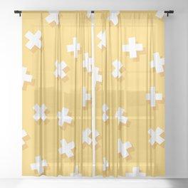 Modern Swiss Cross Yellow Sheer Curtain