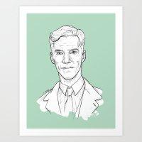 cumberbatch Art Prints featuring Benedict Cumberbatch by Cécile Pellerin