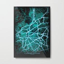 Clermont-Ferrand, France, Blue, White, Neon, Glow, City, Map Metal Print